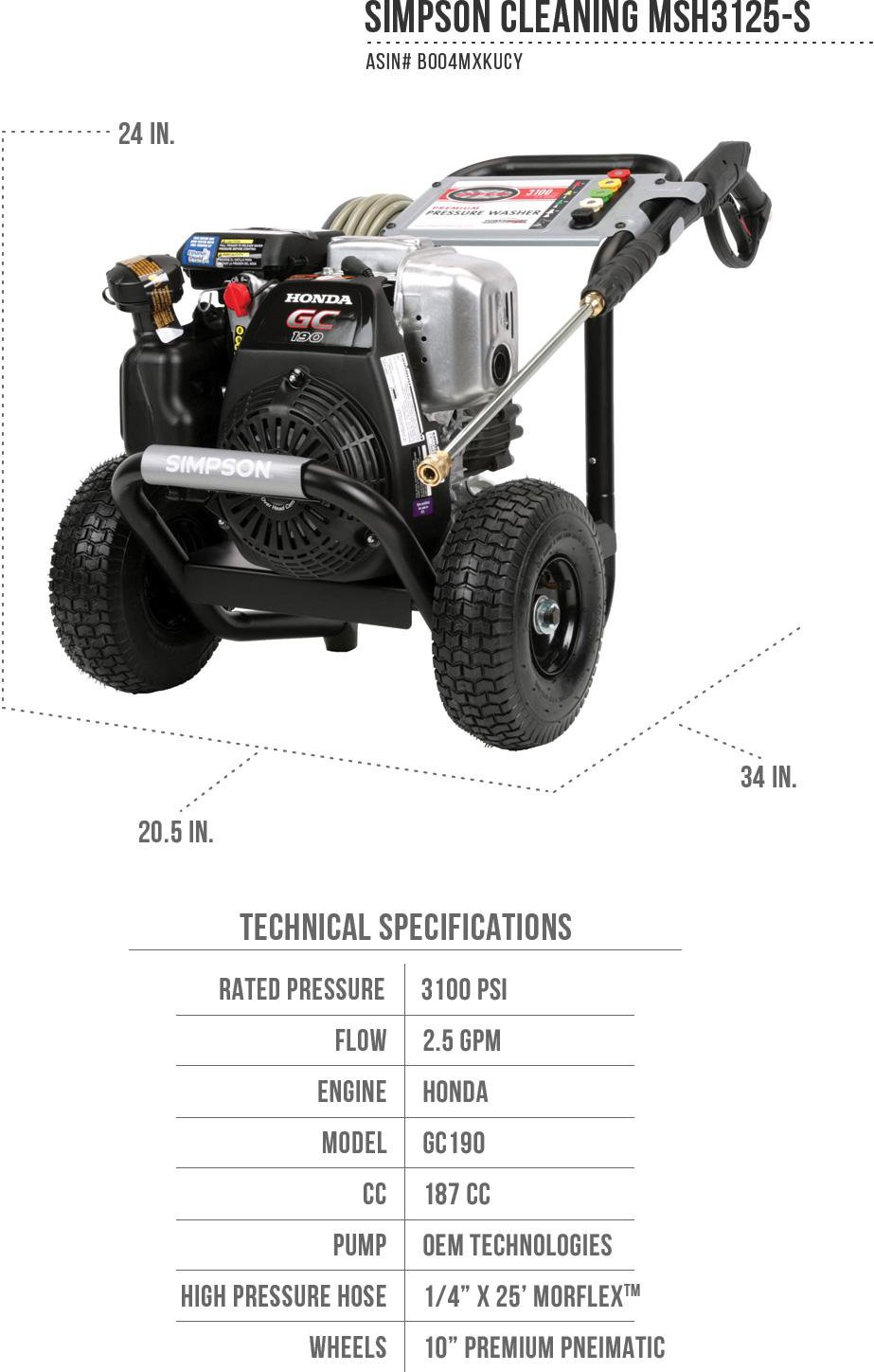 SIMPSON Cleaning MSH3125-S Pressure Washer Specification Sheet