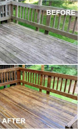 Before and After of a Pressure Cleaned Deck