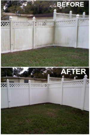 Pressure Washed Fence - Before and After