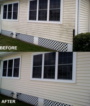 Pressure Washing Vinyl Siding Before and After
